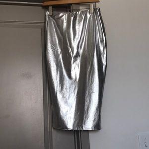 Silver bodycon skirt